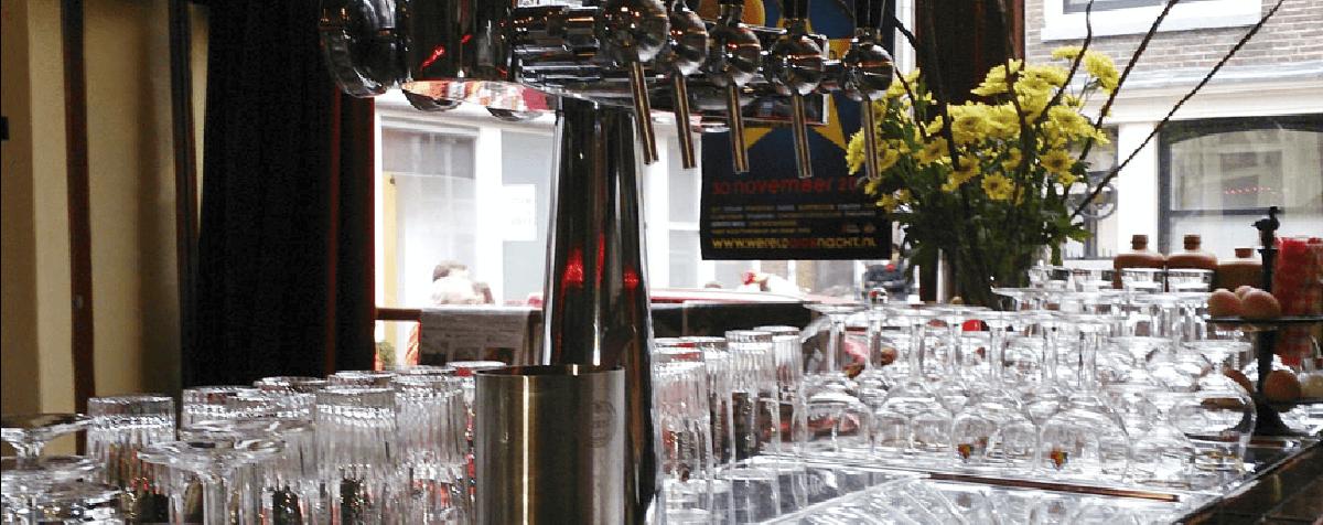 Behind the bar at Saarein Bar in Amsterdam